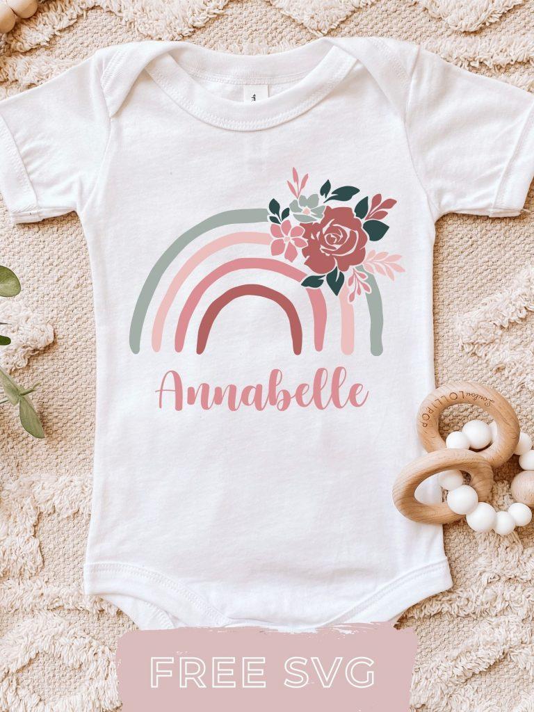 Free Rainbow SVG baby grow Cricut